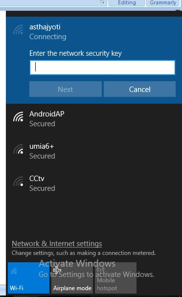 Wireless network connection settings